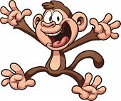 Happy cartoon monkey. Vector clip art illustration with simple gradients. All in a single layer.