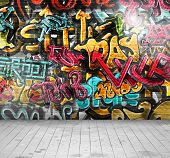 image of paint spray  - Graffiti on wall - JPG