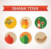 stock photo of hebrew  - six icons for Rosh Hashana - JPG