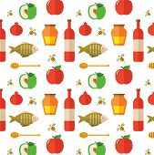 Seamless pattern for Jewish New Year Holiday Rosh Hashahah