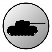stock photo of panzer  - Panzer button on white background - JPG