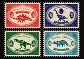 Set Of Postage Stamps Dinosaurs And Their Cutting Scheme