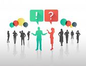 Digitally generated Business people asking and answering questions in speech bubbles