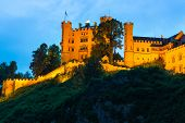 Hohenschwangau Castle in Bavarian Alps at night, Germany