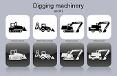 Digging machinery in set of monochrome icons. Editable vector illustration.