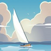 Editable vector illustration of a man sailing a yacht on calm water
