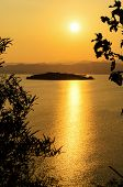 pic of chan  - High angle view beautiful lake and island at sunset on the Kaeng Kra Chan Dam view point in National Park Phetchaburi Province Thailand - JPG