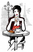 Paris - woman on holiday having breakfast at a terrace of a hotel - vector illustration