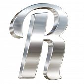 Letter R from chrome solid alphabet isolated on white