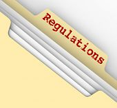 Постер, плакат: Regulations word on the tab of a manila file folder containing documents of laws guidelines rules