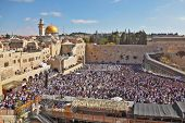 JERUSALEM, ISRAEL - OCTOBER 16, 2011:  The most joyous holiday of the Jewish people - Sukkot. The We