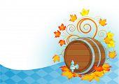 Decorative Oktoberfest design with beer wood keg