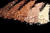 Crushed eyeshadow isolated on black