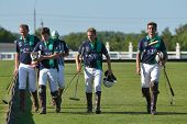 TSELEEVO, MOSCOW REGION, RUSSIA - JULY 26, 2014: Oxbridge Polo Team after the match against the Tsel
