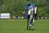 TSELEEVO, MOSCOW REGION, RUSSIA - JULY 26, 2014: Esteban Panelo of Moscow Polo club in action in the