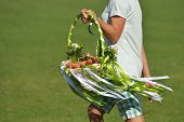 TSELEEVO, MOSCOW REGION, RUSSIA - JULY 26, 2014: Basket of carrots, the award for the best polo pony