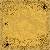 foto of cobweb  - Holiday Halloween background spiders cobwebs and wall texture - JPG