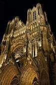 Notre-dame De Reims Cathedral By Night, France.