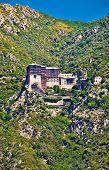 Simonopetra medieval Orthodox monastery at Mount Athos, Agion Oros (Holy Mountain), Chalkidiki, Greece.