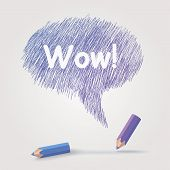 Colored pencils text Wow