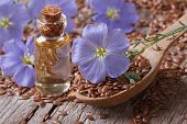 picture of flax seed oil  - Flowers blue flax seeds and oil in a bottle on the table close - JPG