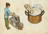Prepare Pasta, Hand Drawn And Colored Vector