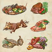 Food Around The World, An Hand Drawn Colored Illustration