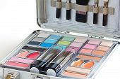 Multicolored Eye Shadows With Cosmetics Brush. Eyeshadow Makeup Palette. Colorful Eye Shadow Make Up