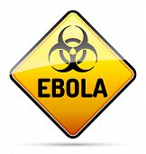 stock photo of hazard symbol  - Ebola Biohazard virus danger sign with reflect and shadow on white background - JPG