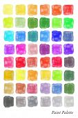 A colour palette comprising of watercolour swatches in various shades