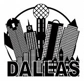 Dallas City Skyline Black And White Circle Illustration