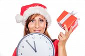 female reminding christmas gifts smiling portrait