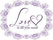 Inspirational Typographic Quote - Love is all you need