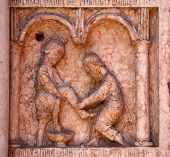 PARMA,ITALY-MAY 01,2014:Christ Performing Works of Mercy relief at the baptistery from Benedetto Ant