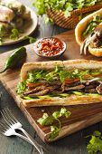 foto of cilantro  - Vietnamese Pork Banh Mi Sandwich with Cilantro and Daikon - JPG