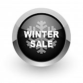 winter sale black chrome glossy web icon