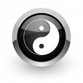 ying yang black chrome glossy web icon
