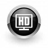 hd display black chrome glossy web icon