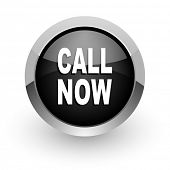 call now black chrome glossy web icon