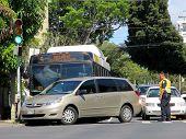 Honolulu City Bus Has Accident With Mini Van