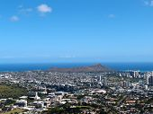 stock photo of waikiki  - Diamondhead and the city of Honolulu on Oahu on a nice day - JPG