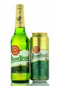 Pilsner Urquell pale lager beer isolated on white