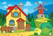 Spring theme house and windmill - eps10 vector illustration.
