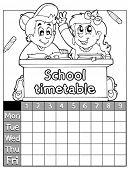 Coloring book timetable topic 2 - eps10 vector illustration.