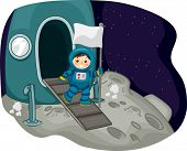 Illustration Featuring an Astronaut Carrying a White Flag