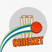 Red ball bouncing in front of wicket stumps for Cricket sports concept.