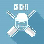 Cricket bat with batsman helmet and Cricket text on blue background.