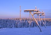image of nordic skiing  - End of a ski lift in winter snow - JPG