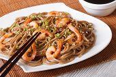 Japanese Buckwheat Soba Noodles With Shrimp Horizontal