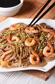 Japanese Buckwheat Soba Noodles With Shrimp Vertical